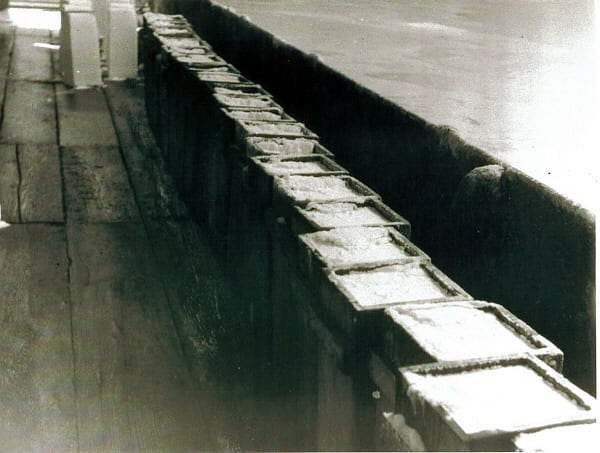 12. The salt begins the drying process, a row of tubs are filled on one side of the pan then the other. Seddon's.jpg