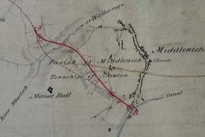 Photograph of a map showing the potential Canal routes into Middlewich, held by the Chester Record Office