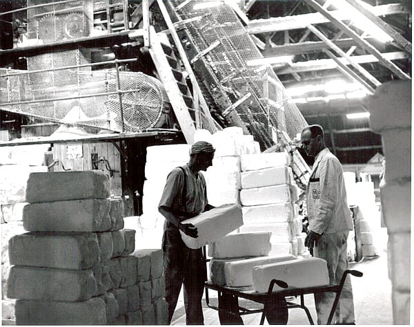 21. Feeding the lump crushing mill 1965-6. The salt is crushed up ready to be bagged up. Murgatroyd's.jpg